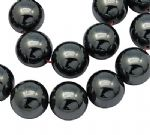 JW10749 Non-magnetic Hematite Round Beads - Black - 8mm. - Pack of Approx 50 beads